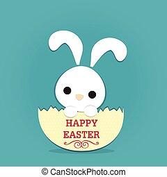 rabbit easter and eggshell - white rabbit in half eggshell...