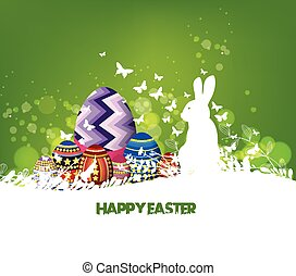 Rabbit Easter background and egg