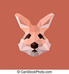 Rabbit Easter polygons in shades pink illustration logos for design modern style low poly