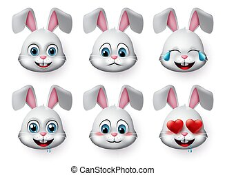 Rabbit emojis vector set. Rabbit or bunny emoticon cute face animal character with laughing, hungry, sad, blushing and in love mood.