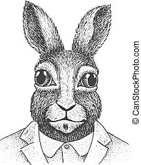 Rabbit Engraving Illustration