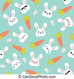Rabbit face seamless pattern. Easter bunny. Happy bunny. Happy Easter - Vector