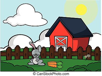 Rabbit farm house scenery