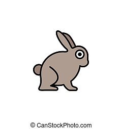 Rabbit. Filled color icon. Animal vector illustration - ...
