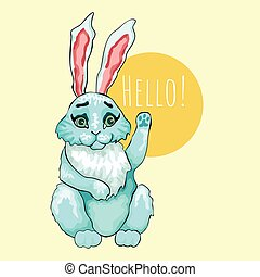 Rabbit. Four vektronyh character. Outlined colored drawing