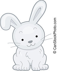 Illustration Featuring the Front View of a Smiling Rabbit