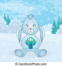 Rabbit girl with box in winter forest
