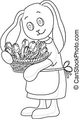 Rabbit girl with flowers, contours