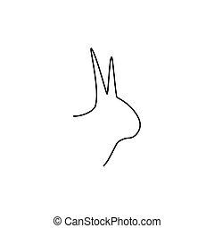 Rabbit head line icon.