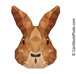 rabbit head low poly isolated icon