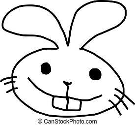 rabbit head - vector illustration sketch hand drawn with black lines, isolated on white background