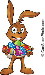 Rabbit Holding A Bunch Of Easter Eg