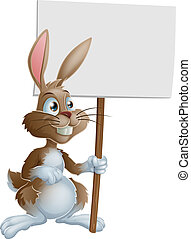 Cute bunny rabbit cartoon character holding up a sign post illustration