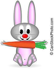 Rabbit holds giant carrot