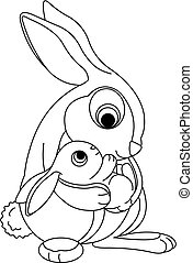 Rabbit hood bw - Cute rabbits. Mother holding her baby bunny...