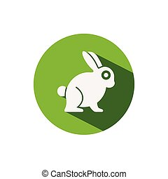 Rabbit. Icon on a green circle. Animal vector illustration