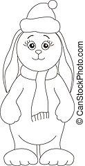 Rabbit in a cap of Santa Claus, contours