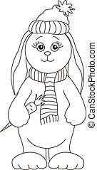 Rabbit in a winter cap, contours