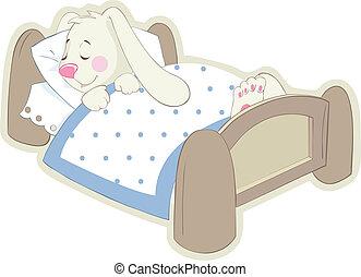 Rabbit in bed. Vector Sticker