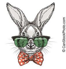 Rabbit in glasses sketch portrait
