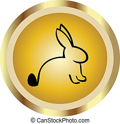 Rabbit in gold icon