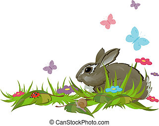 Rabbit in grass. Isolated. EPS 8, AI, JPEG