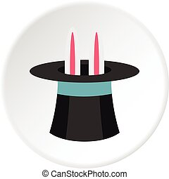 Rabbit in hat magician icon circle