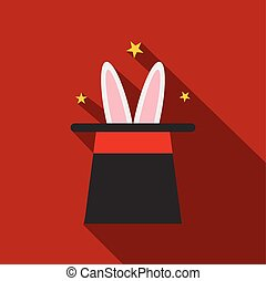 Rabbit in magician hat icon
