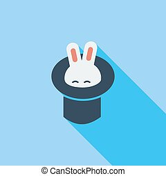 Rabbit in magician hat icon. Flat vector related icon with long shadow for web and mobile applications. It can be used as - logo, pictogram, icon, infographic element. Vector Illustration.