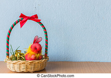 Rabbit in the gift basket