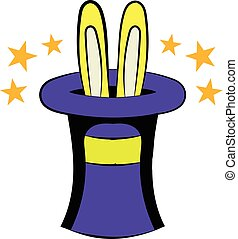Rabbit in the hat icon cartoon