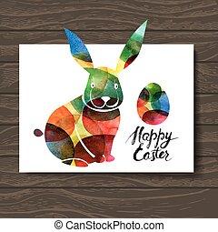rabbit., karte, abbildung, ester, aquarell, vektor