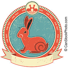 Rabbit label on old paper texture. Vintage style