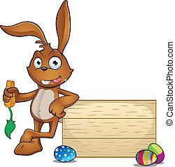 Rabbit Leaning On Wooden Board