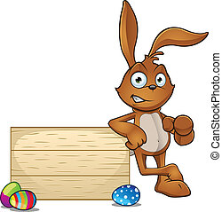 Rabbit Leaning On Wooden Board Poin