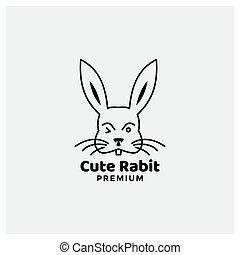 rabbit line cute head face minimalist style silhouette logo design