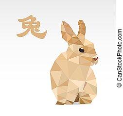 Rabbit low polygon art