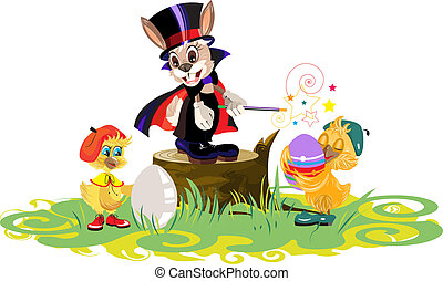 Rabbit magician and chickens dyed eggs for Easter in vector...