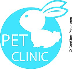 rabbit mark the veterinary clinic, pet health, web icon white silhouette on a blue background. vector illustration, medical sign