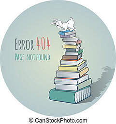 Rabbit on a Pile of Books - Error 404