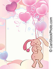 Rabbit on balloons.