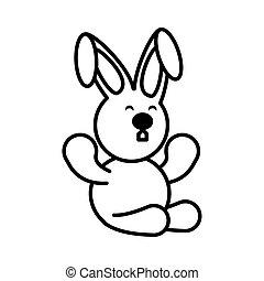 rabbit on white background, baby toys