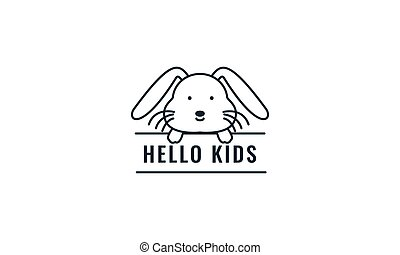 rabbit or bunny line with banner cute cartoon logo vector  illustration