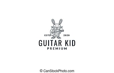 rabbit or bunny play guitar line cute cartoon vector illustration