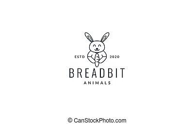 rabbit or bunny with bread line cute cartoon logo vector illustration design