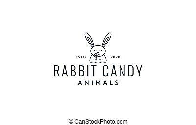 rabbit or bunny with candy line cute cartoon logo vector illustration design