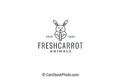 rabbit or bunny with carrot line cute cartoon logo vector illustration design