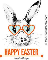 rabbit., ostern, karte, abbildung, aquarell, skizze, hand, gezeichnet, hüfthose