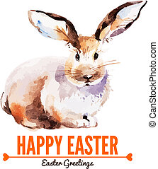 rabbit., ostern, karte, abbildung, aquarell, skizze, hand, gezeichnet