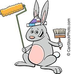 rabbit painter cartoon character